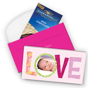 Deluxe Personalized Love Birth Announcement Ghirardelli Chocolate Bar in Gift Box