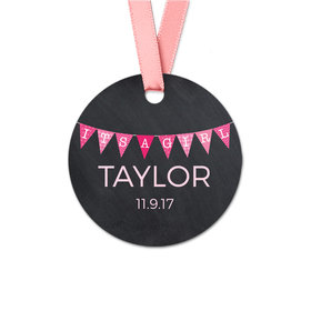 Personalized Baby Girl Banner Round Favor Gift Tags (20 Pack)