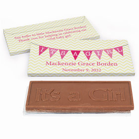 Deluxe Personalized Birth Announcement Baby Girl Banner Chocolate Bar in Gift Box