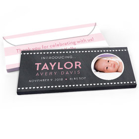 Deluxe Personalized Hearts Baby Girl Announcement Chocolate Bar in Gift Box