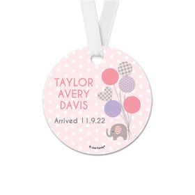Personalized Baby Girl Announcement Elephants Round Favor Gift Tags (20 Pack)