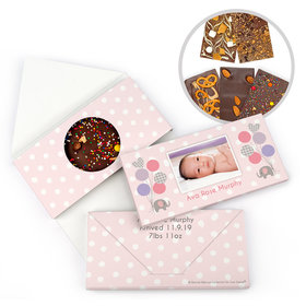 Personalized Bonnie Marcus Birth Announcement Baby Girl Elephants Gourmet Infused Belgian Chocolate Bars (3.5oz)