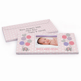 Deluxe Personalized Birth Announcement Baby Elephants Chocolate Bar in Gift Box