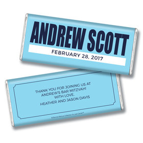 Bar Mitzvah Personalized Chocolate Bar Boldly Blue