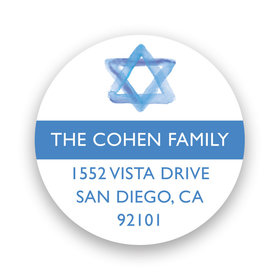 Bonnie Marcus Collection Personalized Blue Star of David Bar Mitzvah Return Address Sticker