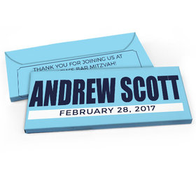 Deluxe Personalized Boldly Blue Bar Mitzvah Candy Bar Favor Box