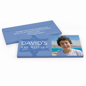 Deluxe Personalized Star of David Bar Mitzvah Chocolate Bar in Gift Box