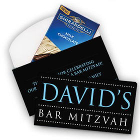 Deluxe Personalized Bar Mitzvah Classic Ghirardelli Peppermint Bark Bar in Gift Box (3.5oz)