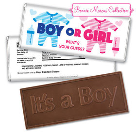 Personalized Bonnie Marcus Onesies Gender Reveal Embossed It's a Boy Chocolate Bar