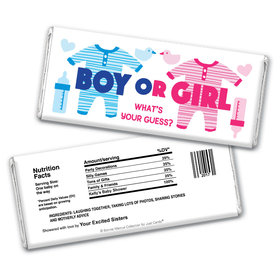 Personalized Bonnie Marcus Onesies Gender Reveal Chocolate Bar Wrappers Only