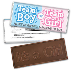 Personalized Bonnie Marcus Boy or Girl Gender Reveal Embossed It's a Girl Chocolate Bar