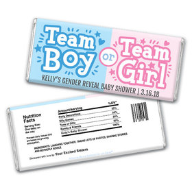 Personalized Bonnie Marcus Boy or Girl Gender Reveal Chocolate Bar & Wrapper