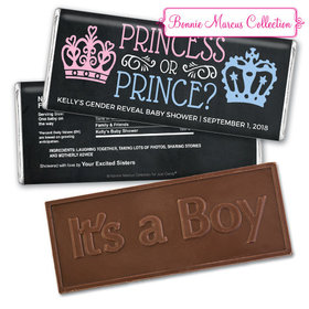 Personalized Bonnie Marcus Princess or Prince Gender Reveal Embossed It's a Boy Chocolate Bar