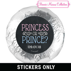 "Personalized Bonnie Marcus Princess or Prince Gender Reveal 1.25"" Stickers (48 Stickers)"