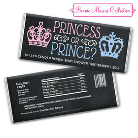 Personalized Bonnie Marcus Princess or Prince Gender Reveal Chocolate Bar & Wrapper