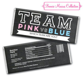 Personalized Bonnie Marcus Team Pink vs. Team Blue Gender Reveal Chocolate Bar & Wrapper
