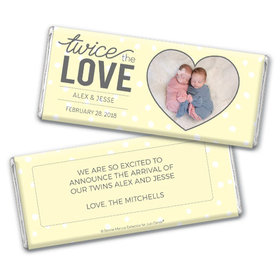 Personalized Bonnie Marcus Twice the Love Birth Announcement Chocolate Bar & Wrapper with Gold Foil