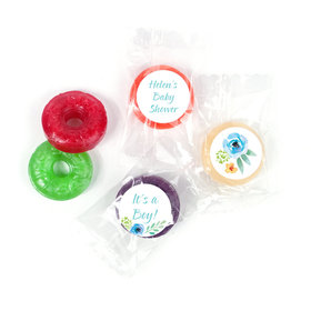 Personalized Life Savers Mints - Bonnie Marcus Baby Shower Watercolor Blossom Wreath Blue