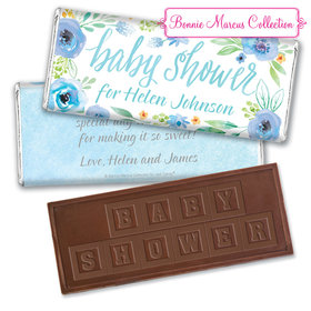 Personalized Bonnie Marcus Embossed Chocolate Bar & Wrapper - Baby Shower Blue Watercolor Wreath