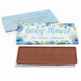 Deluxe Personalized Baby Shower Watercolor Blossom Wreath Embossed Chocolate Bar in Gift Box