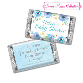 Personalized Hershey's Miniatures - Bonnie Marcus Baby Shower Watercolor Blossom Wreath Blue