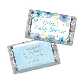 Personalized Mini Wrappers Only - Bonnie Marcus Baby Shower Watercolor Blossom Wreath Blue