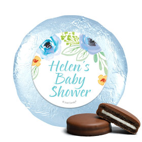 Personalized Milk Chocolate Covered Oreos - Bonnie Marcus Baby Shower Watercolor Blossom Wreath Blue