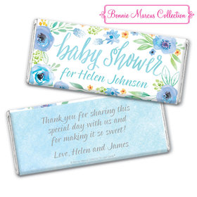 Personalized Bonnie Marcus Chocolate Bar & Wrapper - Baby Shower Blue Watercolor Wreath