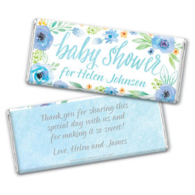 Personalized Bonnie Marcus Chocolate Bar Wrappers Only - Baby Shower Blue Watercolor Wreath