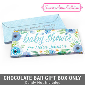 Deluxe Personalized Watercolor Blossom Wreath Baby Shower Candy Bar Favor Box