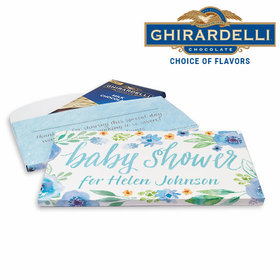 Deluxe Personalized Watercolor Blossom Wreath Baby Shower Ghirardelli Chocolate Bar in Gift Box