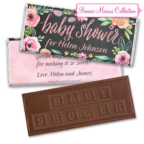 Personalized Bonnie Marcus Embossed Chocolate Bar & Wrapper - Baby Shower Watercolor Wreath