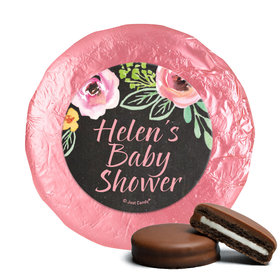 Personalized Milk Chocolate Covered Oreos - Bonnie Marcus Baby Shower Watercolor Blossom Wreath Chalkboard