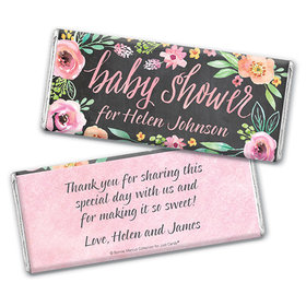 Personalized Bonnie Marcus Chocolate Bar & Wrapper - Baby Shower Watercolor Wreath