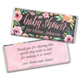 Personalized Bonnie Marcus Chocolate Bar Wrappers Only - Baby Shower Watercolor Wreath
