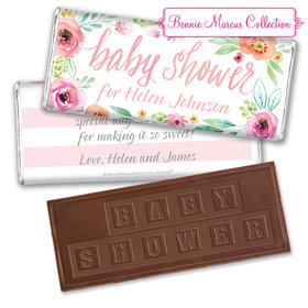 Personalized Bonnie Marcus Embossed Chocolate Bar & Wrapper - Baby Shower Pink Watercolor Wreath