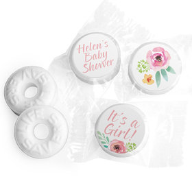 Personalized Life Savers Mints - Bonnie Marcus Baby Shower Watercolor Blossom Wreath Pink