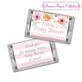Personalized Hershey's Miniatures - Bonnie Marcus Baby Shower Watercolor Blossom Wreath Pink