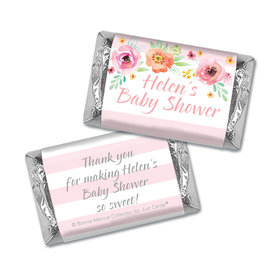 Personalized Mini Wrappers Only - Bonnie Marcus Baby Shower Watercolor Blossom Wreath Pink