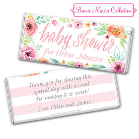 Personalized Bonnie Marcus Chocolate Bar & Wrapper - Baby Shower Pink Watercolor Wreath
