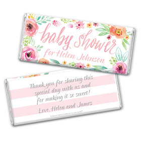 Personalized Bonnie Marcus Chocolate Bar Wrappers Only - Baby Shower Pink Watercolor Wreath