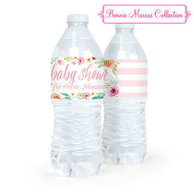 Personalized Baby Shower Watercolor Blossom Water Bottle Sticker Labels (5 Labels)
