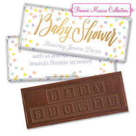Personalized Bonnie Marcus Baby Shower Confetti Fun Embossed Chocolate Bar