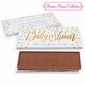 Deluxe Personalized Pastel Confetti Baby Shower Embossed Chocolate Bar in Gift Box