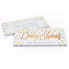 Deluxe Personalized Pastel Confetti Baby Shower Chocolate Bar in Gift Box