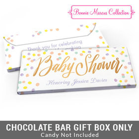 Deluxe Personalized Pastel Confetti Baby Shower Candy Bar Favor Box