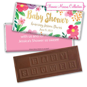 Personalized Bonnie Marcus Fun Floral Baby Shower Embossed Chocolate Bar & Wrapper