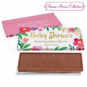 Deluxe Personalized Watercolor Flowers Baby Shower Embossed Chocolate Bar in Gift Box
