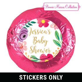 Personalized Bonnie Marcus Fun Floral Baby Shower 1.25in Stickers (48 Stickers)