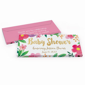 Deluxe Personalized Watercolor Flowers Baby Shower Chocolate Bar in Gift Box
